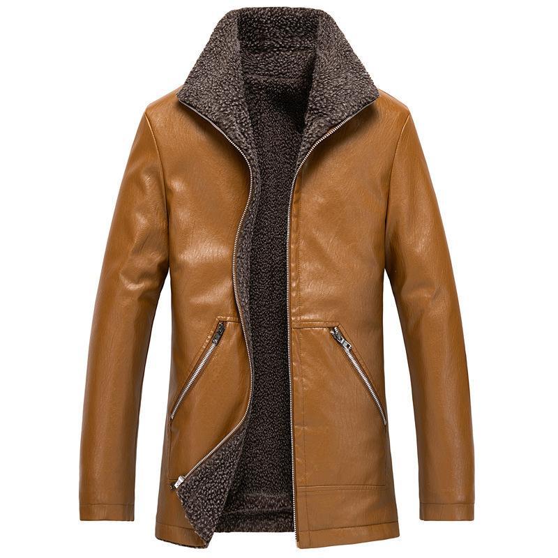 Autunno Inverno Mens di alta qualità Uomo PU Giacche di PU Veet per mantenere il caldo Cappotto Cappotto Casual Cappotto Uomo Plus Size 6XL 7XL 8XL