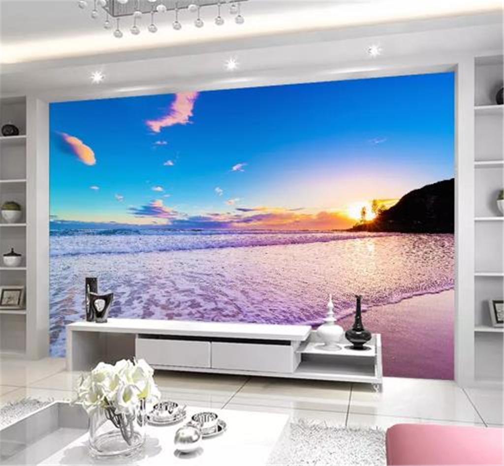 Оптовая HD цифровой печати обои Море Закат Красивые сцены Indoor TV фона украшения стены Mural обои