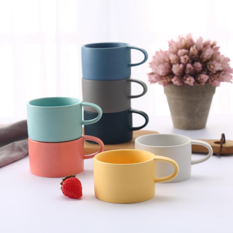 Macarons Farbe Matt Scrub Keramik-Kaffeetasse Frühstückstasse des Paares Glas Vaulted Kaffee