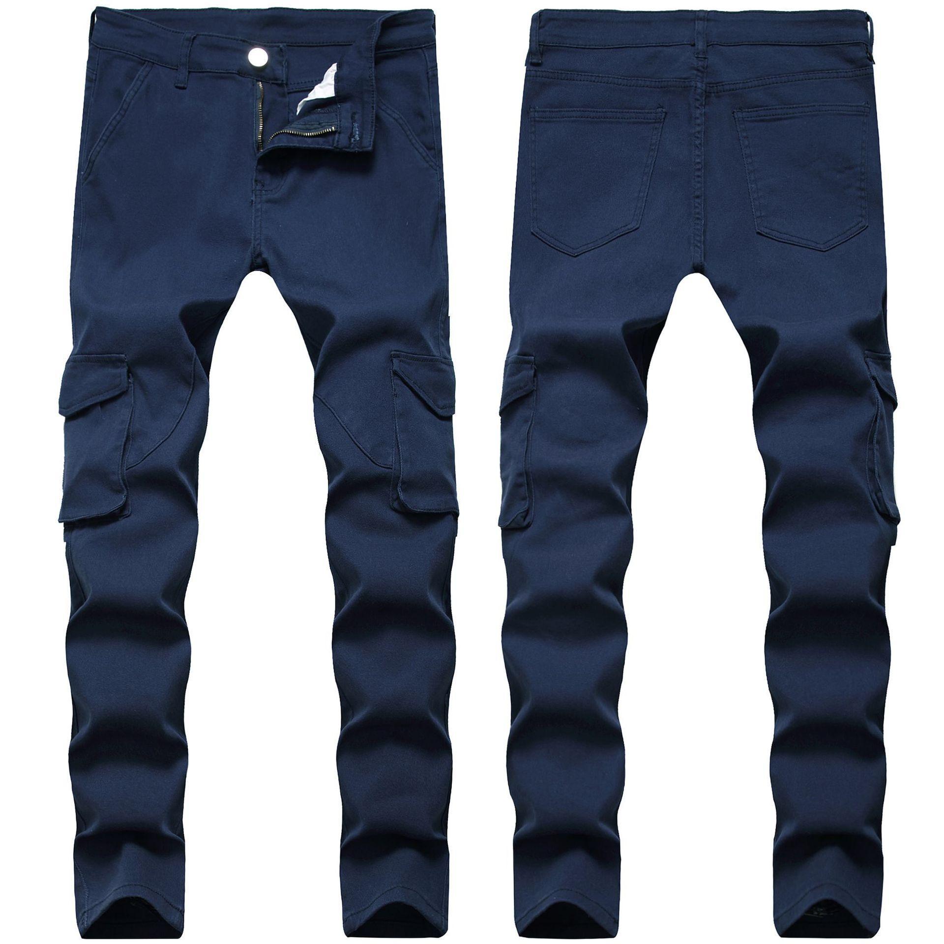 Sıska Erkek Kot Mavi Serin Erkekler Kot Streç Slim Fit Denim Biker Jeans Hip Hop Erkekler Streetwear 1105 #