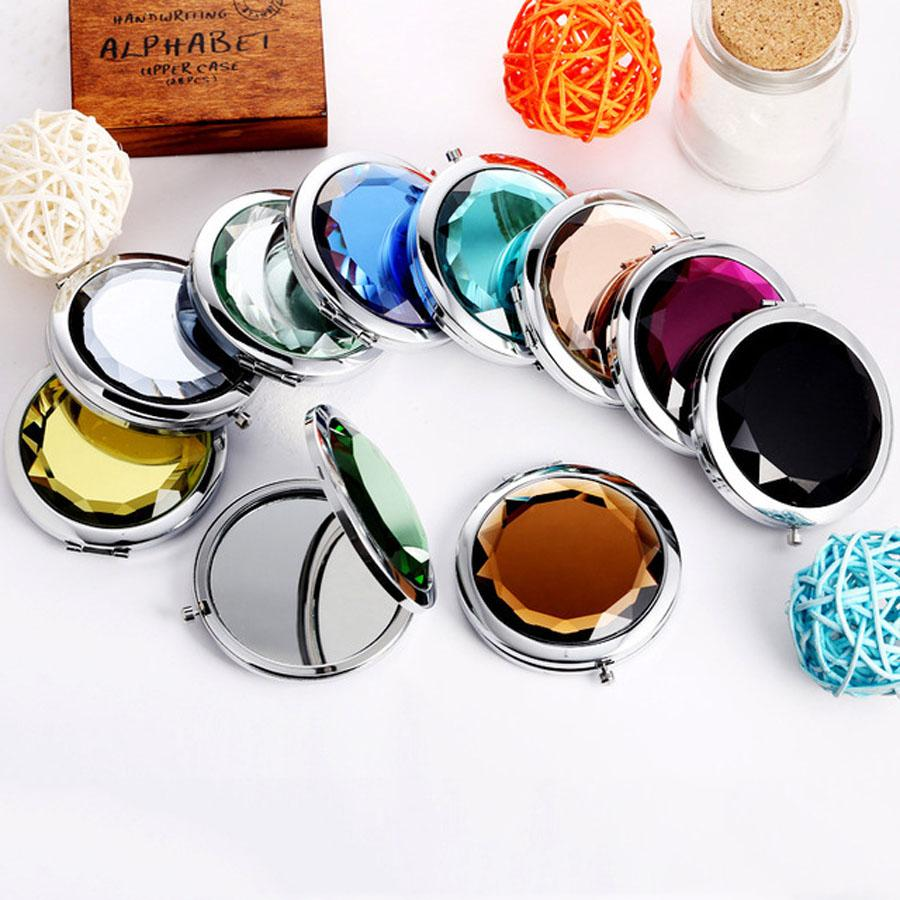 Promotion Custom Crystal Surface Mirrors Portable Pocket Mini Cosmetic Mirror Women Cosmetic Cute Round Makeup Clamshell Mirrors DWD2676