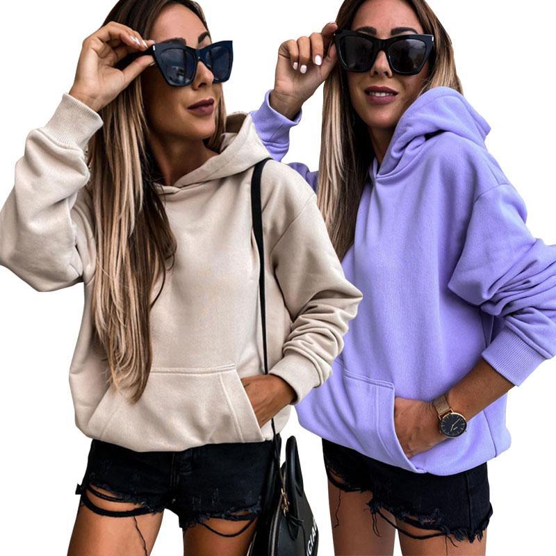 Women Hoodies Autumn Long Sleeve Hooded Tops Ladies Sweatshirts Solid Pocket Pullover Top Female Hoodies 051009