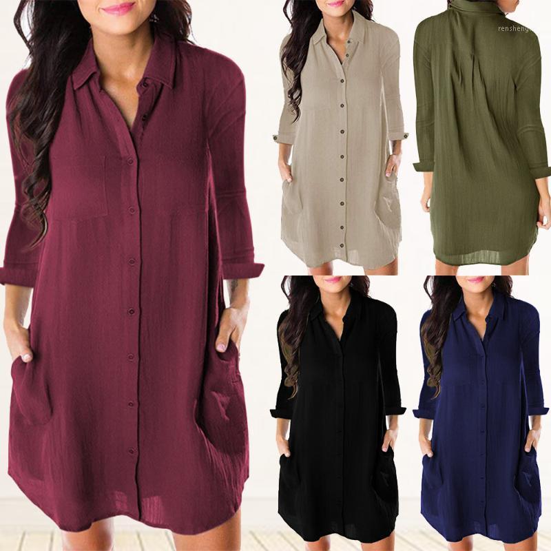 Outono e inverno europeu e americano comprido cor sólido bolso solto casual de manga longa blusa vestido1