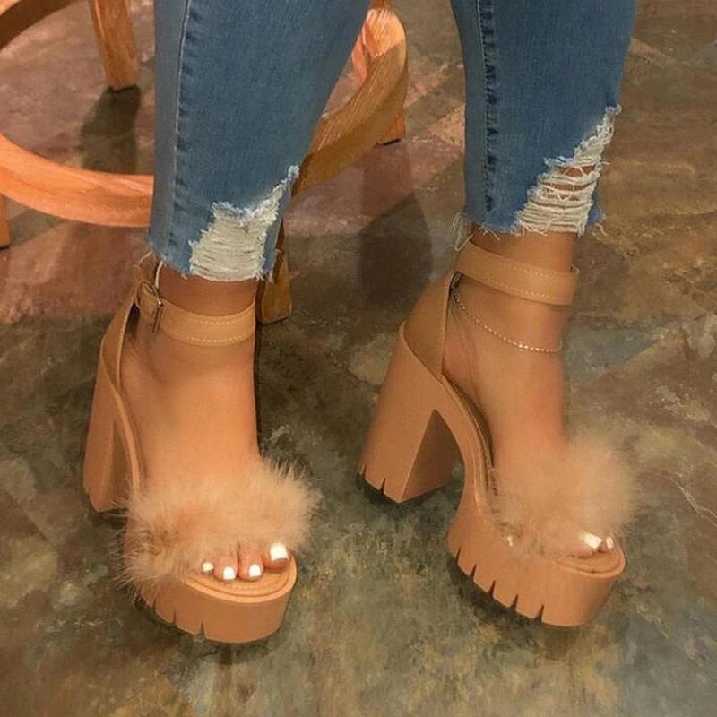 Summer Femmes Haute Talons imperméables Plate-forme Open Toe Chaussures Super Haute Heel 12cm Sandales de banquet Femme Femmes Sandales à boucle de femme # M28Y