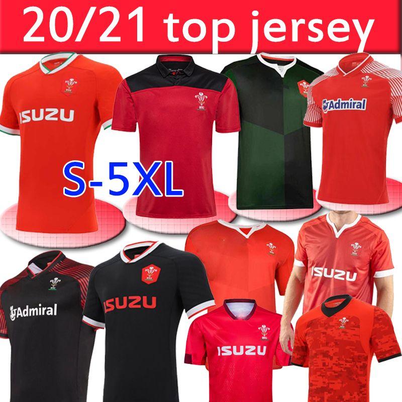2020 2021 Galles Rugby National Team Jerseys Cymuu Home Red Away Uomo T-shirt T-shirt E T-shirt da uomo Formazione di rugby Uniformi Jesery S-5XL