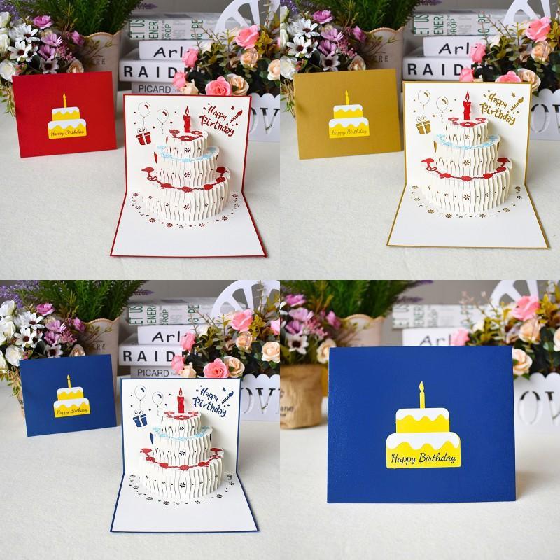 3D всплывающие с днем рождения поздравительные открытки лазерные вырезать день рождения торт поздравительная открытка открытки подарки карты с конвертом наклейки dhd3935