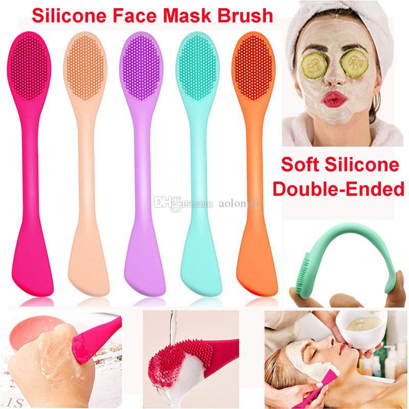 Silikon Yüz Maskesi Fırça Çift kafalı Yumuşak Silikon Yüz Temizleme Fırçası Çamur Kil Vücut Losyonu ve BB CC Krem Fırçalar Güzellik Araçlar Maske