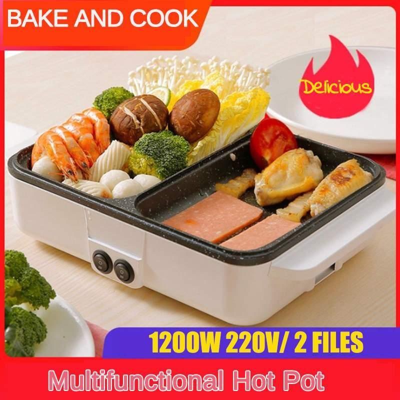 220V 1200W 2 em 1 Multifuncional Mini Elétrico Cozinhar Máquina de Potenciômetro Hotpot Macarrão Ovos Sopa Barbecue Não-Stick BBQ Aquecimento Pan