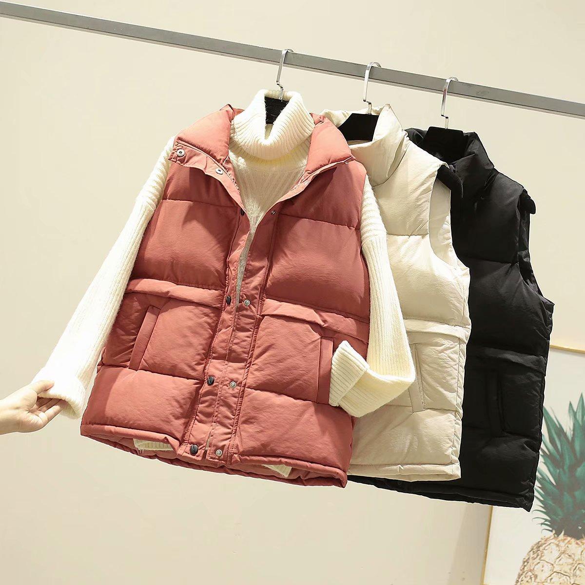 여성 겨울 다운 조끼 캐주얼 순수한 3 색 포켓 호흡기 조끼 코트 2020FW 겉옷 여성 의류 가을