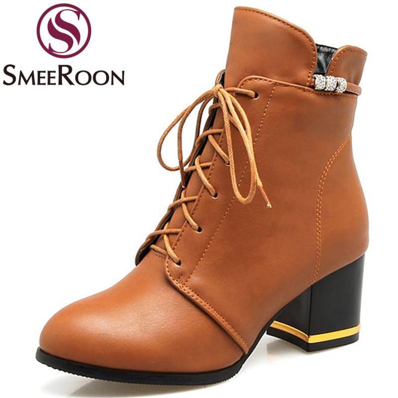 SmeRoon Горячая распродажа кампуса ботильоны для женщин для женщин составная молния Med каблуки ботинки досуг Сохраняйте теплые зимние простые обувь