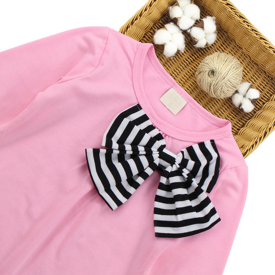 Kızlar Giyim Rahat Çocuk Giyim Seti Sonbahar Uzun Kollu Gömlek Çizgili Tozluk Bebek Çocuk Takım Elbise 3 4 5 6 7 8 Yıl 0126