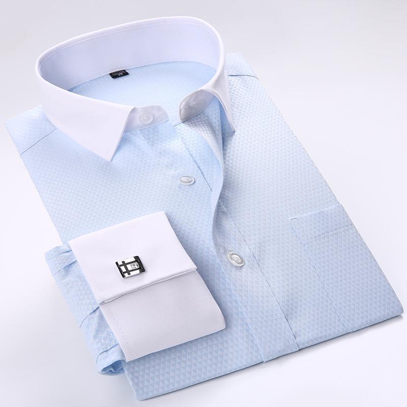 Франция Запонки Белый воротничка Tuxedo Рубашка мужской с длинным рукавом формального Мужских рубашками Социальной отпечатанной Мода Качество с карманом 201021