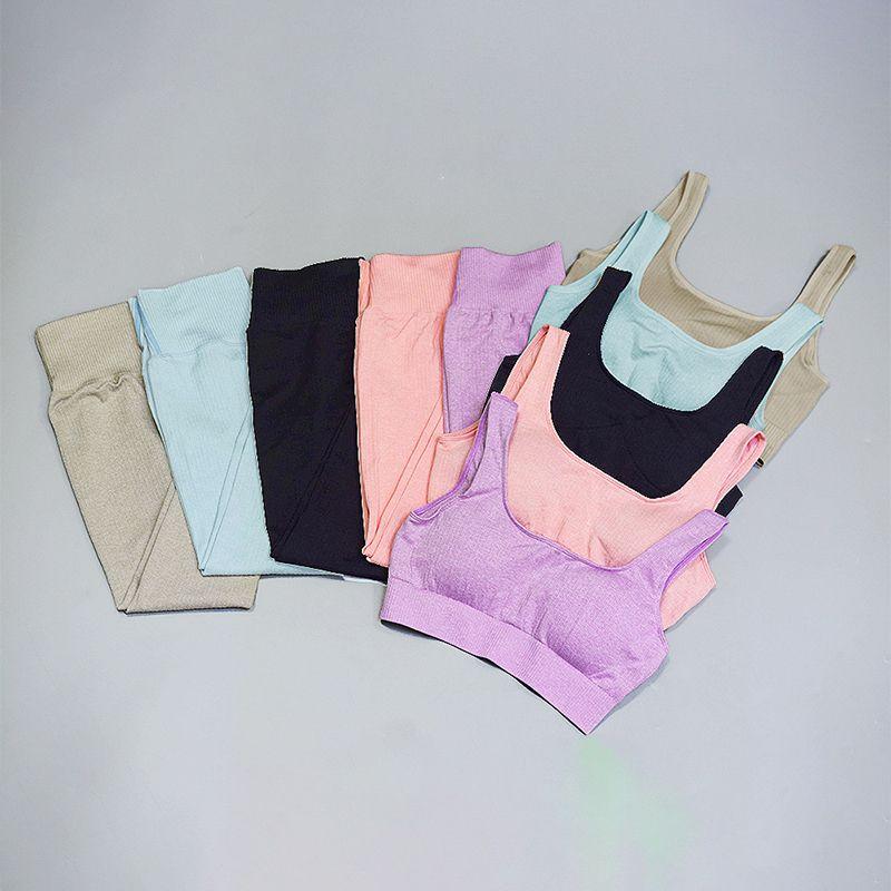 Traje sin fisuras para mujer Ropa deportiva Gimnasia Deporte Mujer Gimnasio Correr Set de 2 piezas Disfraz de Yoga Sports Bras + Leggings Conjuntos