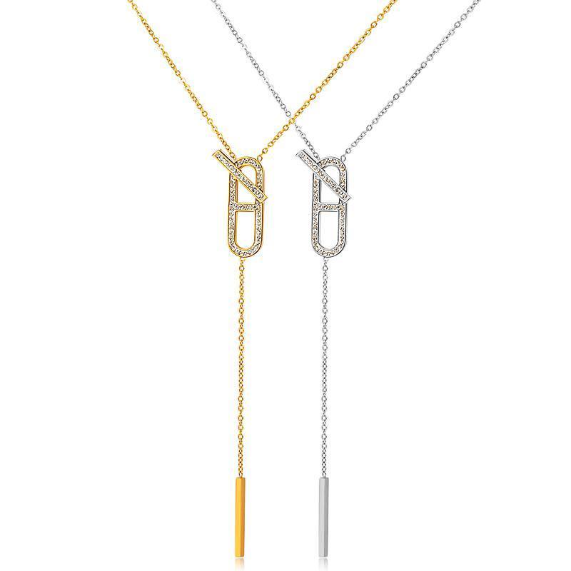 Kadınlar Taşlı Link Zinciri Kolye Metal Collier Moda Takı Bildirimi Yaka için FYSARA Uzun Püskül kolye Kolyeler