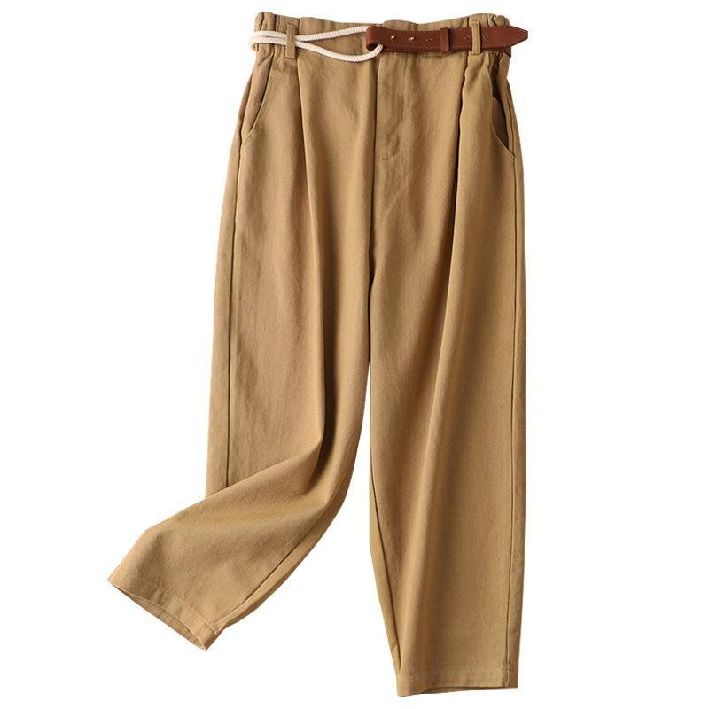 Карандаш зима осень 100% и хлопок женская высокая талия повседневная лодыжка длиной брюки винтажную уличную одежду корейский стиль