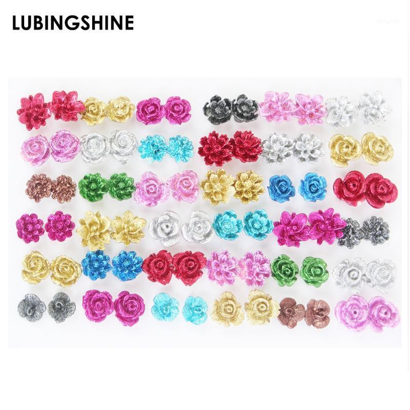 36 Pairs / set colorato resina rosa fiore orecchini per ragazze bambini anti allergico studio orecchio gioielli per le donne moda regalo1