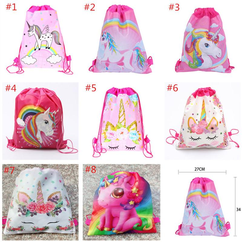Tejido Sling de dibujos animados del unicornio con asas de bolsas para no niños mochilas escolares unicornio Bolsa Niños Niñas Fiesta de cumpleaños regalo de la bolsa de 6 colores