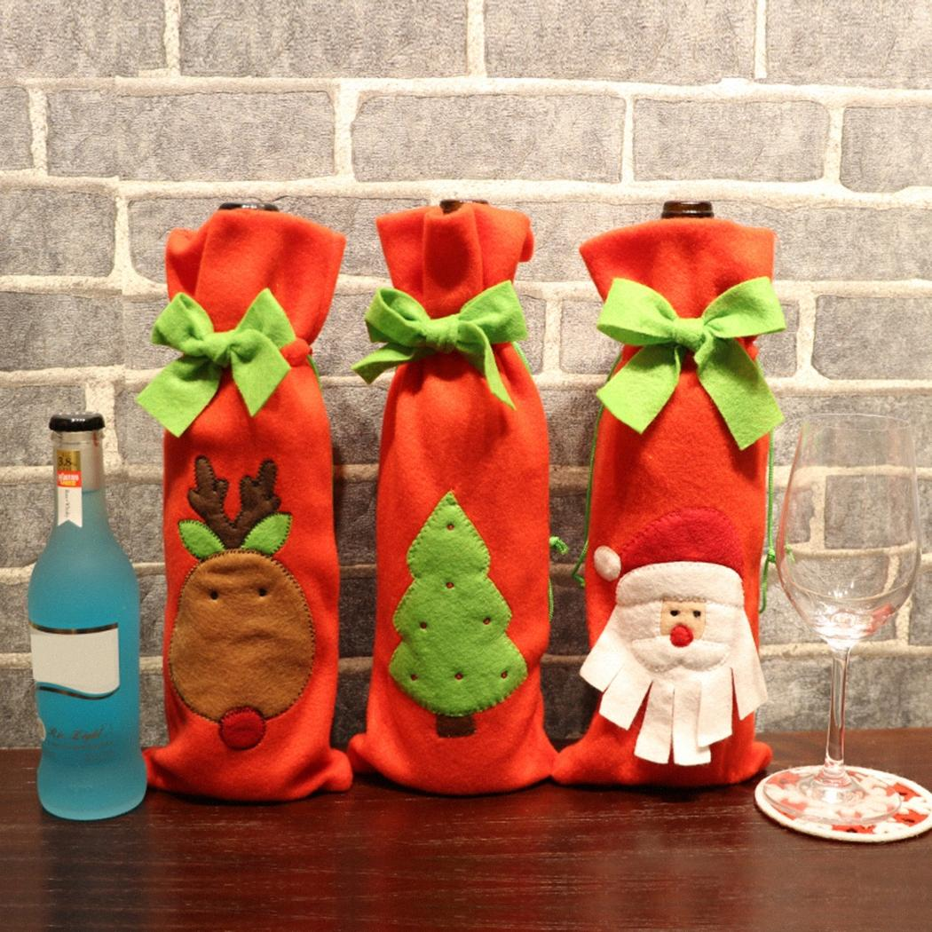 Decoração de Natal Wine Papai Noel Bottle Capa presente de Santa Sack Frasco da preensão Saco do boneco de neve Xmas Decor Decoração SEBC #