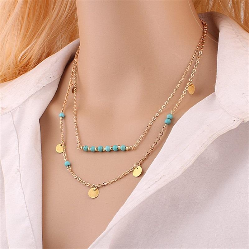 مثلث مستطيل سلسلة مزدوجة متعدد الطبقات الجوف خارج الأزياء المختنق سلسلة الخرز قلادة مجوهرات اكسسوارات 1 3 o2