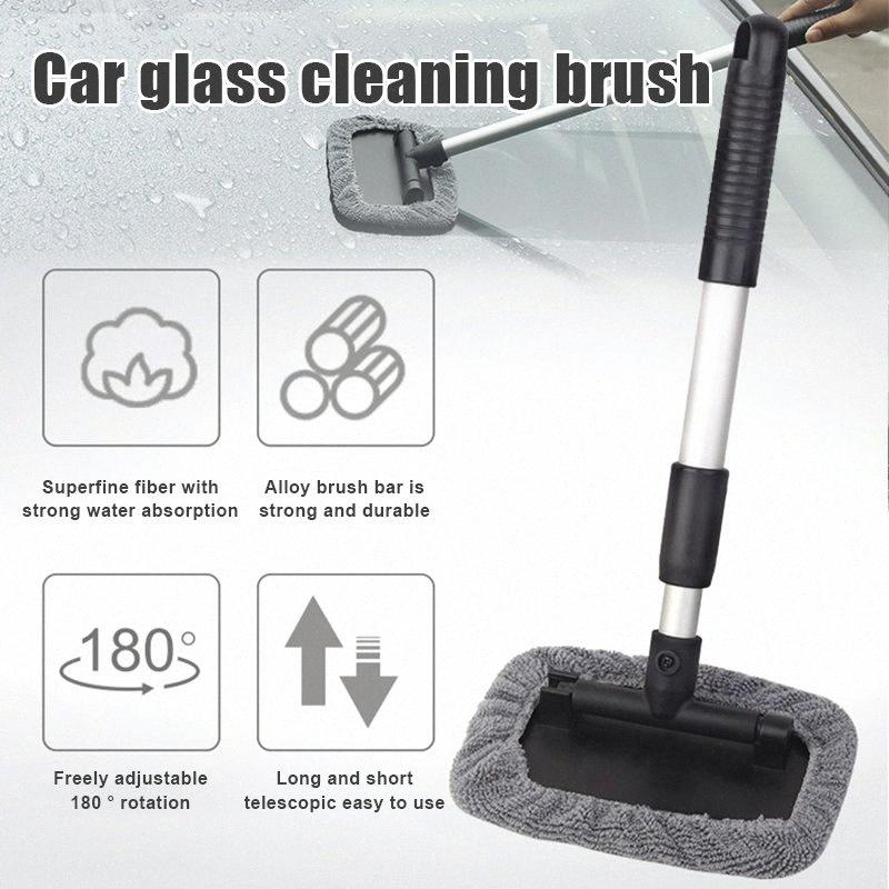 Car Windshield Cleaner Tool Retractable Handle Rotating Cleaning Brush Microfiber Covers Pads Glass Cleaner XR657 p2Z6#