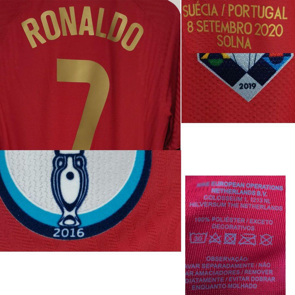 2020 Match Worn Playe Problema Ronaldo Maillot Camisa João Felix Bernardo Pepe Fernandes com 100 gols Match Detalhes American College Football