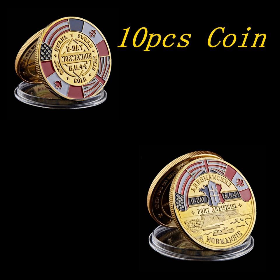 10 PZ 24K 70 ° anniversario Artigianale Placcato oro Souvenir Coin Arromanches Normandie Guerra Military Challenge Badge Collectibles