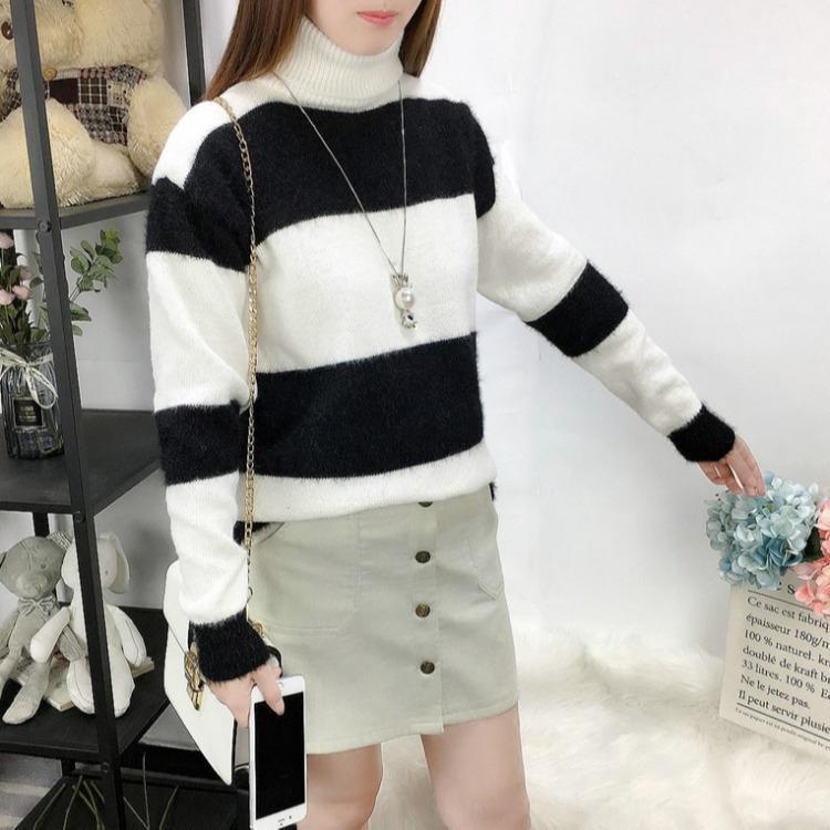 Automne et hiver nouvelle coréenne pulloversweater pull-over col haut vent paresseux petit pull femmes lâche frais doux Pull chemise creux de la vague