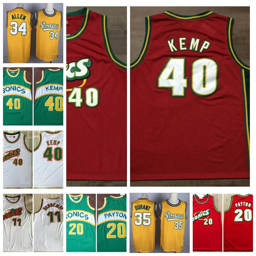 Mens Glove Gary Payton Kevin 35 Durant царит Shawn Kemp Detlef 11 Schrempf Ray Allen Seattle Vintage Super SonicsБаскетбол Джерси 01.