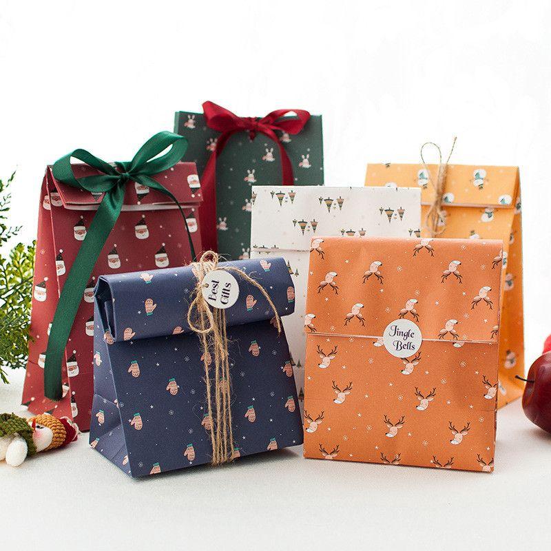 Regalo di Natale di carta sacchetto pacchetto regalo fai da te Cookie pacchetto del sacchetto di Santa Sonowman Deer Stampa Candy Presente Pouch GGE2152