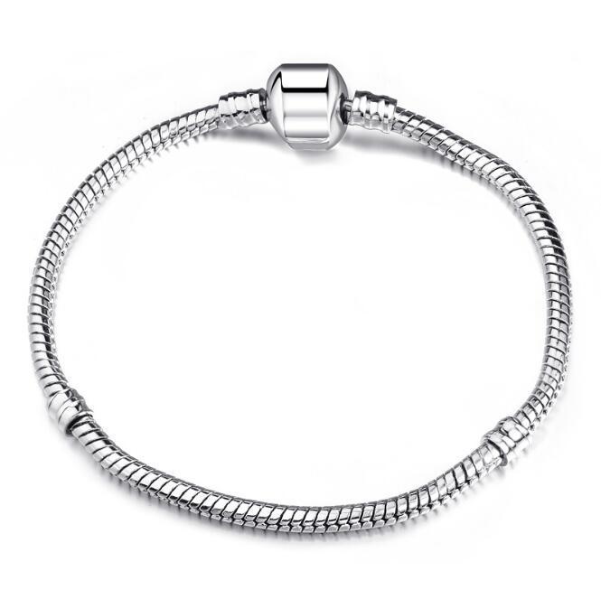 Bästsäljande varm försäljning 925 Silver European Beads Charm Armband (6.0inch ~ 9.0inch mix storlek) 3mm orm armband 200pcs / parti
