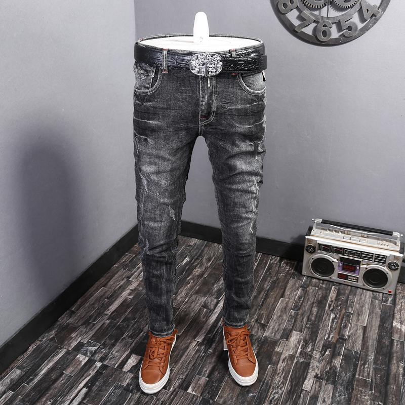 Mode Streetwear haute qualité gris noir Couleur Slim Fit Ripped Hommes Pantalons Hip Hop Designer Vintage Jeans Homme