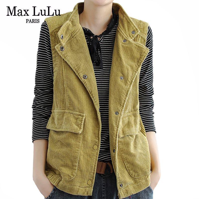 Max LuLu 2020 Европейская мода Luxury Дизайнер одежды Casual пальто женщин Вельвет рукавов Жилеты Женщины Урожай Жилеты