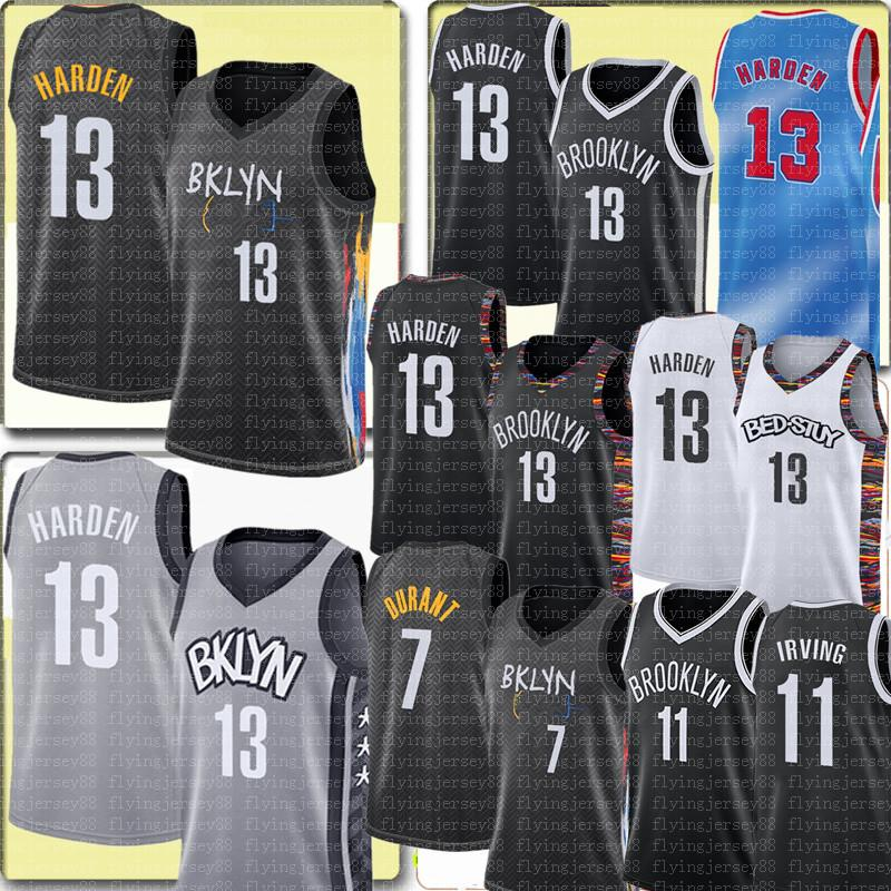 Novo 13 Harden Jersey Kevin 7 Durant Jersey City 11 Kyrie Masculino Basquete Irving Jerseys vendas Barato de alta qualidade Preto branco cinza
