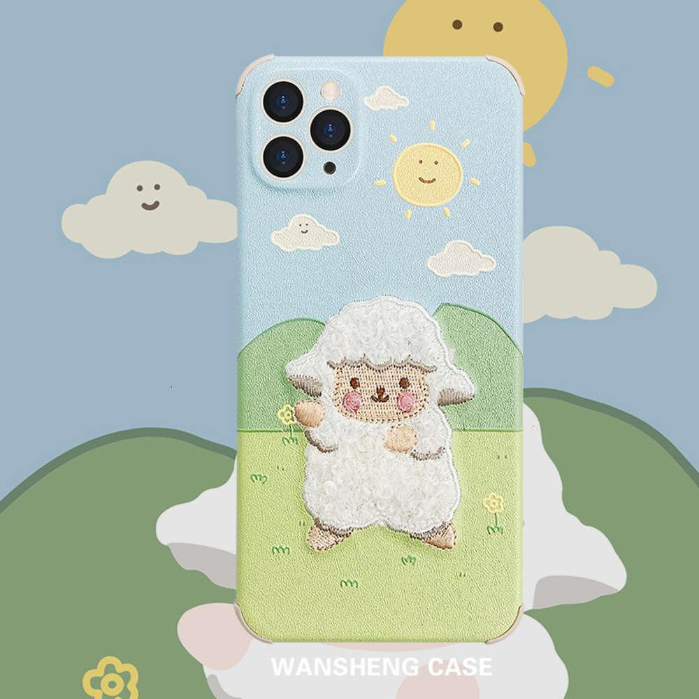 1dwPlay win embroidery sheep 12 11pro max mini X XS XR / SE mobile phone case vip 7p female 8plus silk personalized creative