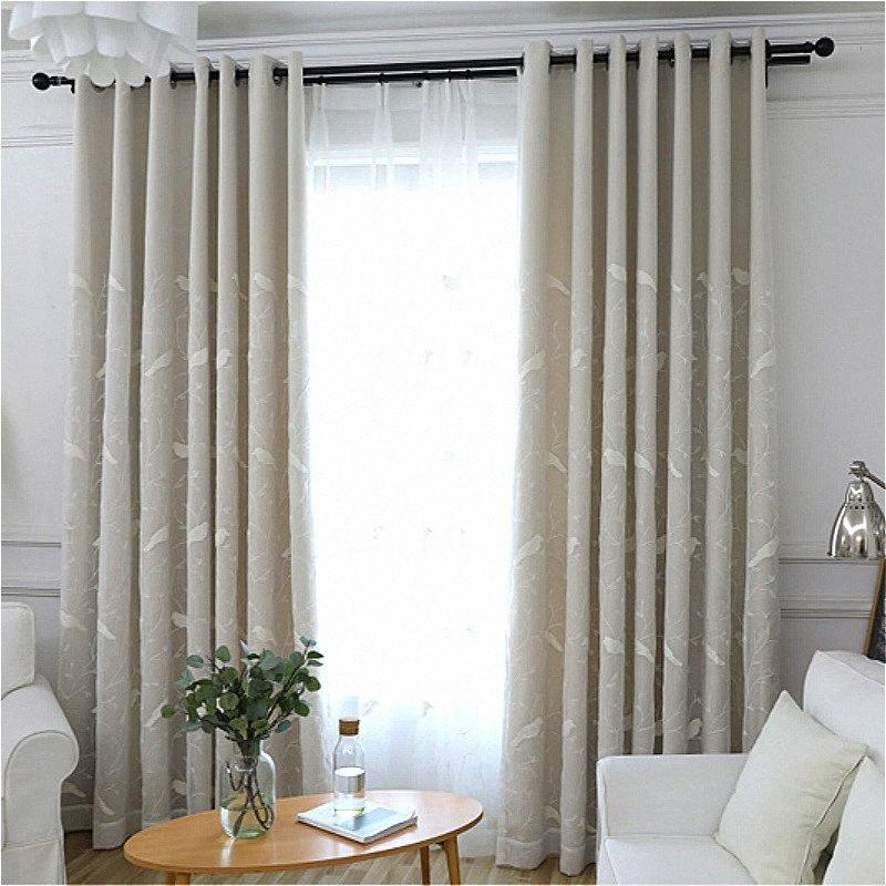 Sheer Europea Pájaros blancos bordado Tulles gasa + Cortinas cortinas para la sala habitación doble moderna Cortina 8Pb9 #