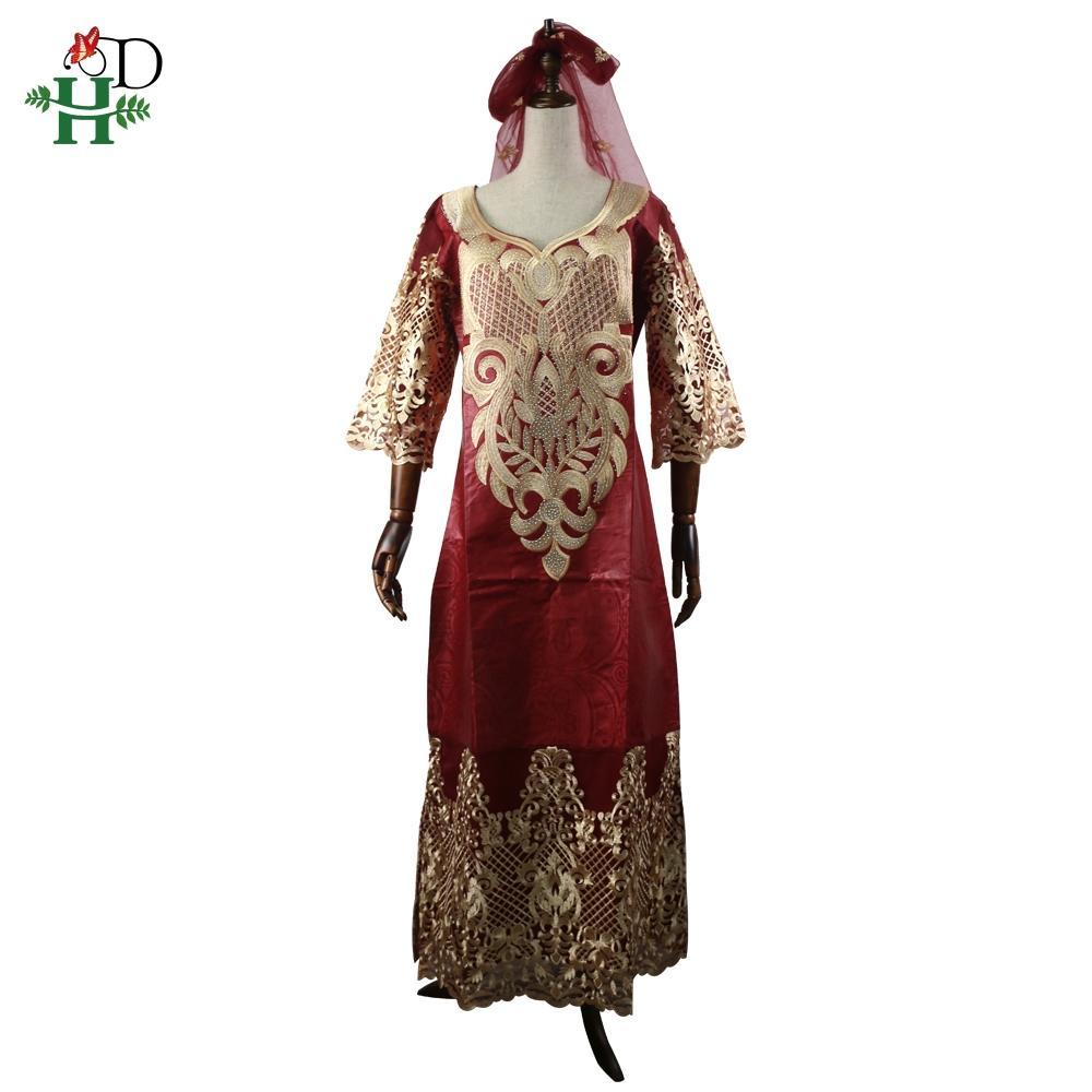 vestido de las mujeres africanas de encaje de DA más Bazin tamaño vestidos HEADWRAP larga túnica África señora ropa bordado vestido maxi patrón