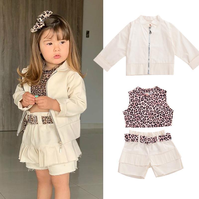 2-8 anni Ragazze di autunno della molla Outfits 3-Piece Fashion Casual Leopard Vest + Shorts + Belt Set selvaggio manica lunga cerniera Cappotto