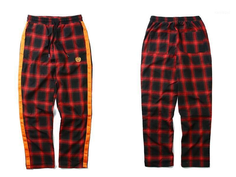 Calças xadrez de fita lateral 2019 Hip Hop Casual Bordado Cordilheira Cintura Calças Streetwear Moda Jogador Sweatpants1