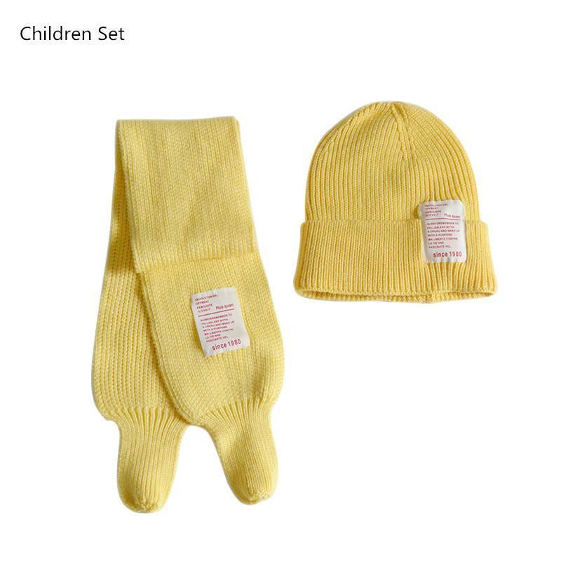 Аксессуары для волос милые детские девушки мальчик шапка шарф набор зима теплые дети фанатов аппликация буквы шерстяные вязаные шляпы детей два