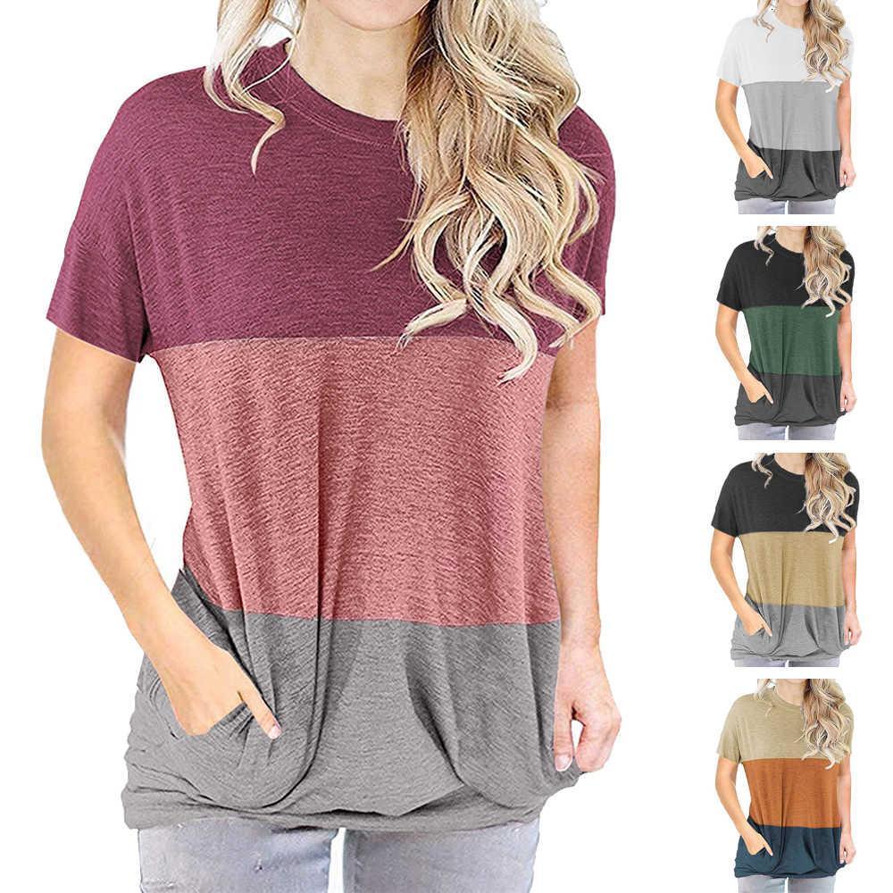 Talla grande Camisetas de moda Bloque de color de la moda Patchwork camiseta con bolsillos Cuello redondo Manga corta Femenino Casual Flow Tops