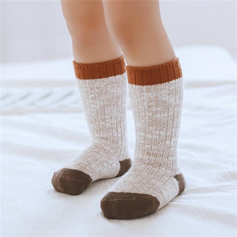 Wolle warm für Baby Winter Knöchel Mädchen Jungen dicke rutschfeste Gummi Sohle Boden Kinder Infant Neugeborene Socken Sokken Y201009