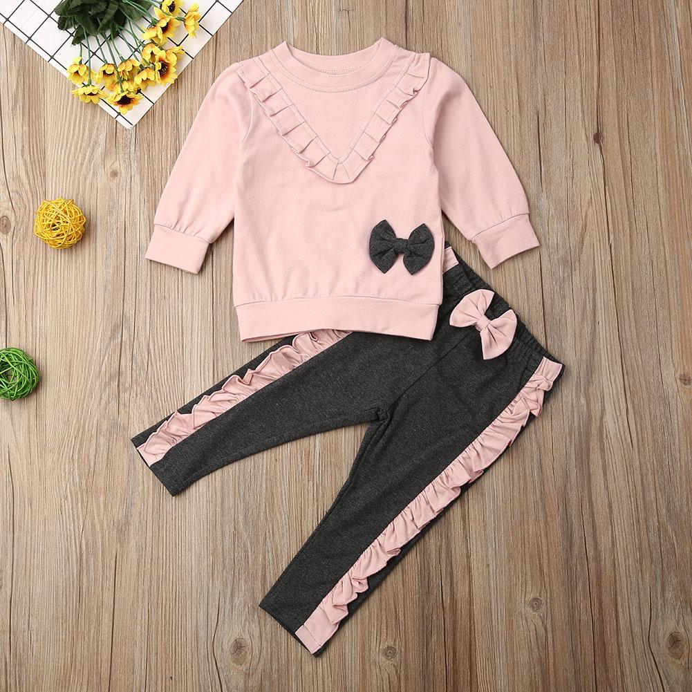 2PCS Baby Girl Outfit Clothes Sets Long Sleeve Pink Ruffle Bowknot Sweatshirt Pants Toddler Kid Clothes Set