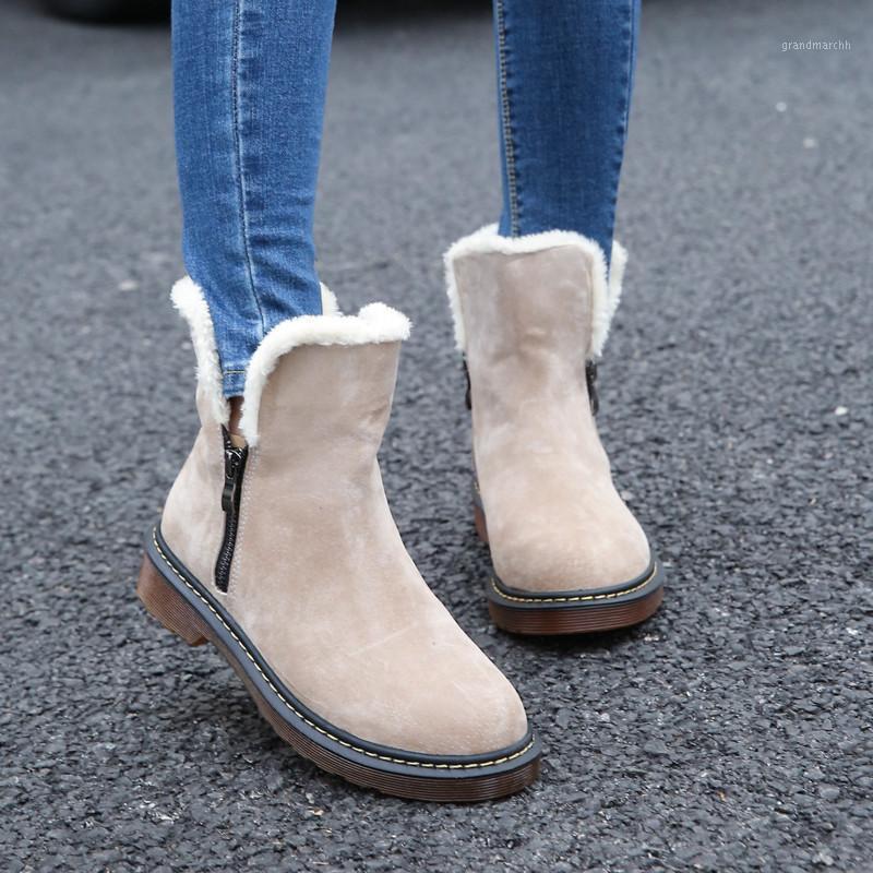 Ботинки Okkdey Snow Basic 2021 квадратные каблуки зимние туфли женщины мода теплые плюшевые сплошные лодыжки Botas Mujer1