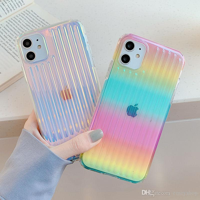 Gradiente Laser colorida Telefone iPhone Para o Caso 11 12 11 Pro Max XR XS Max X 7 8 Plus 12 Pro SE 2 dura do PC tampa transparente Stripe