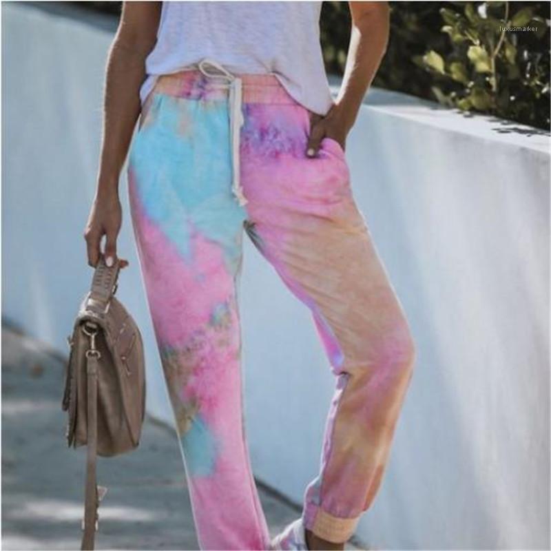 Lâche Courir Legging Pant Tie-dye femme Pantalons simple avec cordelette Fashion Designer New Accueil Sports Pantalons Pantalons Femme Imprimé