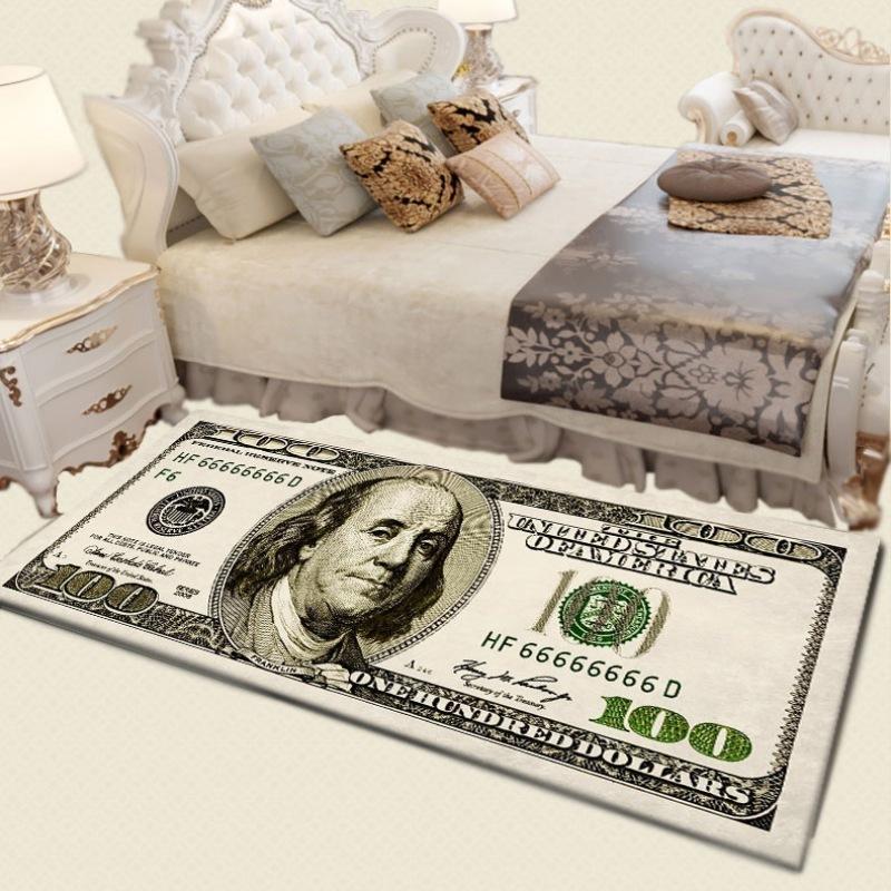 Vintage valuta Denaro 100 Dollari Bill Pittura del portello di entrata Mat Veranda Carpet Home Living Room Decor Tappeto rettangolare corallo del panno Y200527