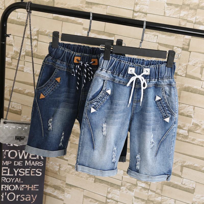 Été Femmes Ripped Trou Sarouel court Drawstring genou longueur Denim Jeans Pantalons Taille Mode Femme plus 5XL court TT2615 1017
