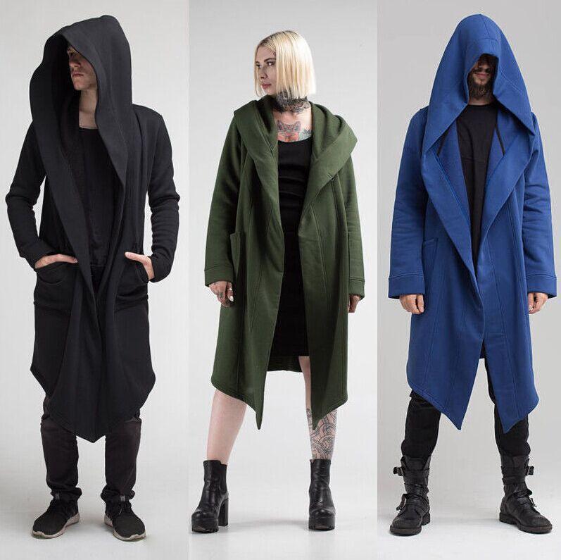 Сыпучие Casual куртки и пиджаки Мужчины Женщины Кардиган с капюшоном Длинный плащ Cape пальто Streetwear Плюс Размер