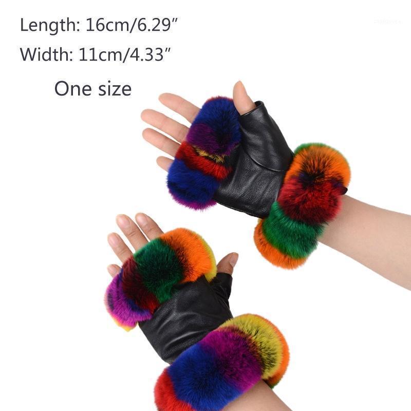 Guantes de media dedo de piel de invierno de piel de invierno con adornos de peluche mullido colorido 50JB1