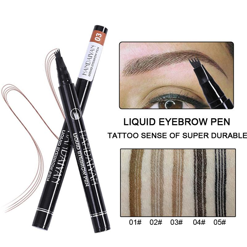 HANDAIYAN Four liquid eyebrow pen 24 hour waterproof and sweat proof EFFECTIELY HELPS you to draw eyebrows quickty lasting effect